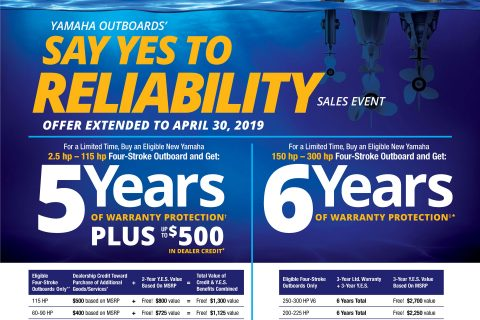 Yamaha Sales Event Extended Through April 30, 2019!